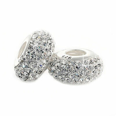 £5.95 • Buy 1 Crystal Charm Bead 925 Silver - Gift For Wife Mum Nan Sister Daughter