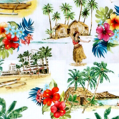 Michael Miller LOST IN PARADISE - BEACH VIBES Hawaiian Island Floral Fabric • 8.50£