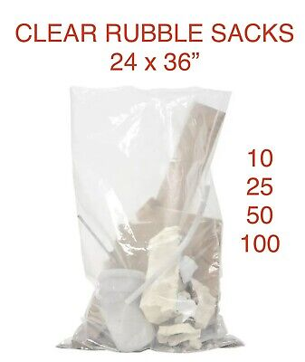 £11.95 • Buy Strong Duty Clear Plastic Rubble Sacks (builders Bags) 24 X 36