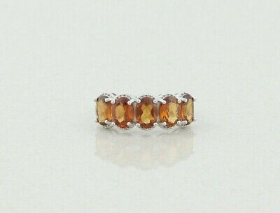 £39.04 • Buy Sterling Silver Madeira Citrine Band Ring Size 8 1/4