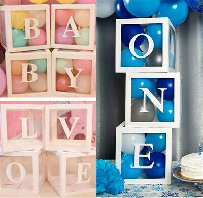 AU28.89 • Buy BABY LOVE ONE Transparent Balloon Box Gift Boxes Birthday Baby Shower Party Dec