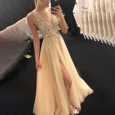 AU24.98 • Buy Women Plunge V Neck Maxi Dresses Evening Prom Party Sequin Tulle Slit Ball Gowns