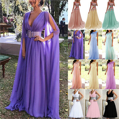 AU31.09 • Buy Womens Formal Party Prom Gowns Dress Wedding Bridesmaid Lace Maxi / Midi Dresses