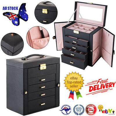 AU69.87 • Buy Extra Large Jewellery Box Necklace Rings Storage Organiser Earring Display Case
