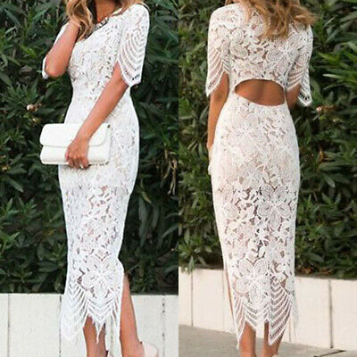 AU33.15 • Buy Women Lace Side Slit Midi Pencil Dress Hollow Out Bodycon Bridesmaid Party Gowns