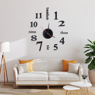 Modern DIY 3D Large Number Wall Clock Mirror Sticker Decor Home Office Kids Room • 4.49£