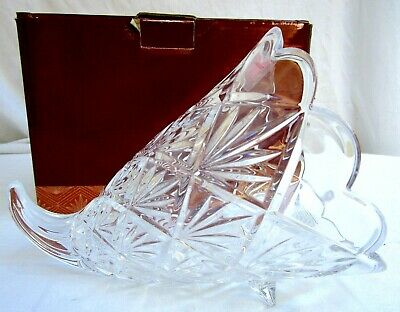 CRYSTAL HORN OF PLENTY..MARQUIS By WATERFORD..BASKET..THANKSGIVING CORNUCOPIA • 18.08£