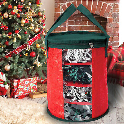 Christmas Xmas Storage Zip Bag Tree Lights Storage Box Large Handles Organiser • 8.49£