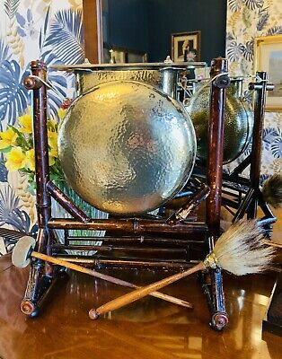 Large 19thC Bamboo & Hammered Brass Dinner Gong By Wilkinson • 290£
