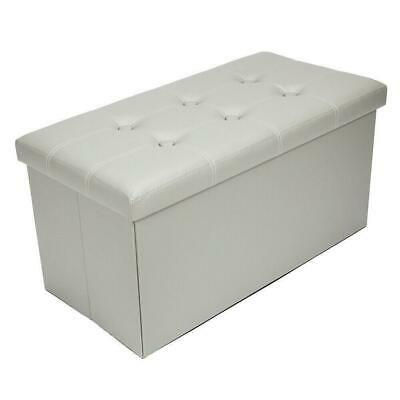 Large Ottoman Faux Leather Stool Folding Seat Chest Foldable Storage Box Foot • 18.85£
