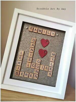 Scrabble Picture Box Frame Word Art Personalised Family Name & Heart • 27£