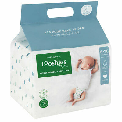 AU23.99 • Buy Tooshies By TOM Baby Wipes Pure Water 6 X 70 Pack