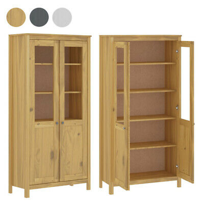 Highboard Hill Range Solid Pine Wood Bookcase With Glass Doors 5 Shelves Cabinet • 226.14£