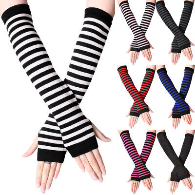 AU10.16 • Buy Womens Stretchy Elbow Fingerless Long Gloves Striped Arm Wrist Warmer Mittens