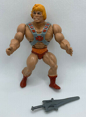 $109.99 • Buy He-Man 1981 Masters Of The Universe Figure W/ 8 Back Short Strap Armor & Sword