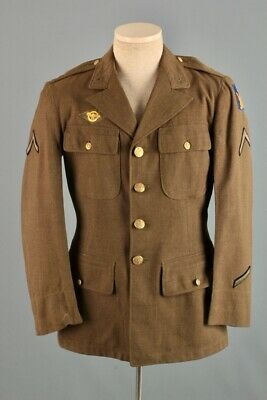 Men's 1940s WWII US Army 2nd Air Force Wool Tunic Small 40s WW2 Vtg Jacket Patch • 51.19£