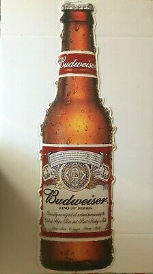 $ CDN63.29 • Buy Budweiser 1918 Style Bottle Embossed Die Cut Metal Sign New Old Stock