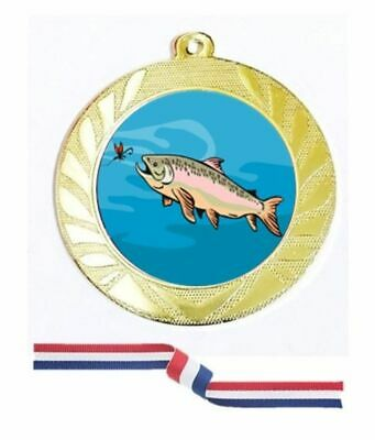 £3.98 • Buy Gold Silver Bronze Fishing Medal 70mm Red White Blue Ribbon Free Engraving-3