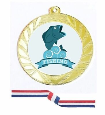 £3.98 • Buy Gold Silver Bronze Fishing Medal 70mm Red White Blue Ribbon Free Engraving-4