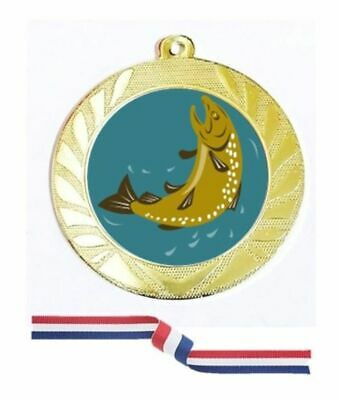 £3.98 • Buy Gold Silver Bronze Fishing Medal 70mm Red White Blue Ribbon Free Engraving-7