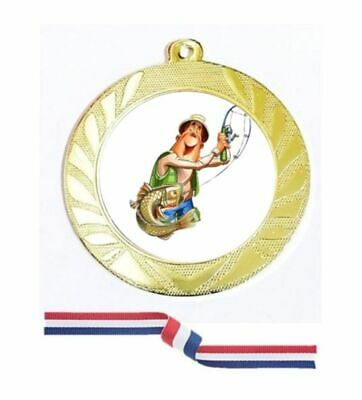 £3.98 • Buy Gold Silver Bronze Fishing Medal 70mm Red White Blue Ribbon Free Engraving-5