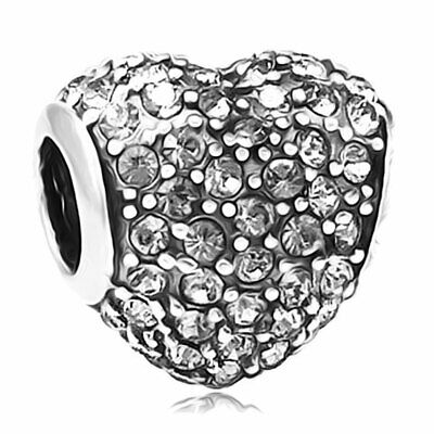 Love Heart Charm - 925 Silver Clear Pave Crystal - Mum Sister Daughter Nan Gift • 8.95£