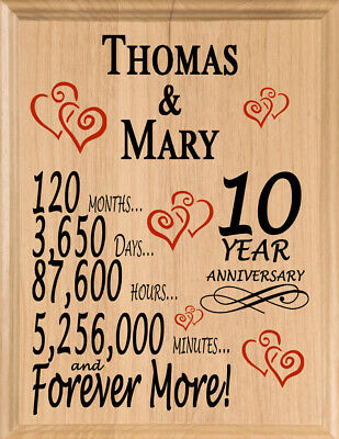 Personalized 10 Year Anniversary Gift MAPLE WOOD 10th Year For Her Him Or Couple • 28.35£