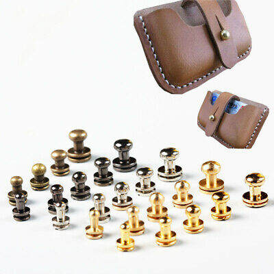 10Sets Leather Double Sided For Leather Decorative Studs Brass Rivets Screws • 2.89£