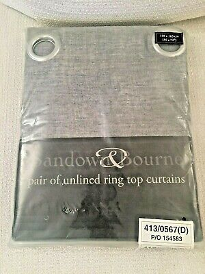 Sandown And Bourne Grey  Curtains - Unlined Ring Top Curtains *NEW* • 14.99£