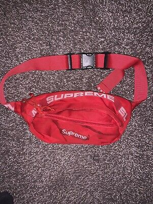 $ CDN65.16 • Buy Supreme Waist Bag Red SS18 Fanny Pack Cordura Fabric Used Cheap Rare Original
