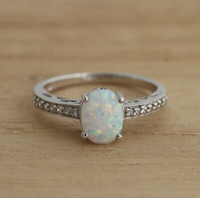 Lab.- Created Opal & CZ 925 Sterling Silver Solitaire Ring UK Size L P R Boxed • 29.98£
