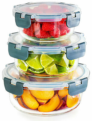£17.95 • Buy Igluu Glass Round Meal Prep Containers - 3 Different Sizes - Food Storage