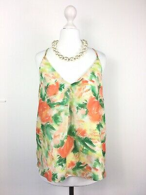 ALICE + OLIVIA Made In NYC Fierro Y Back Tank Floral Camisole Strappy Vest Top S • 49£