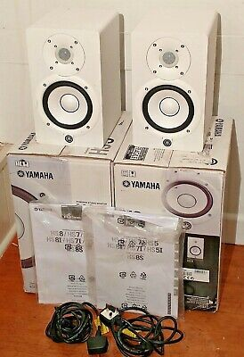PAIR (2x) Of YAMAHA HS5 STUDIO MONITORS WHITE Speakers HS-5 BOXED Manuals Leads • 189£