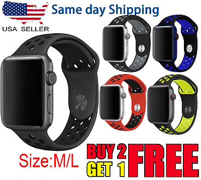$8.36 • Buy For Apple Watch Sport Band Silicone IWatch Series 6 SE 5 4 3 40mm 44mm 38mm 42mm