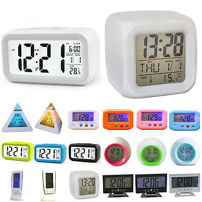 AU17.28 • Buy LCD Digital Clock Snooze Electronic Alarm Clocks Kids Wake-up Bedside Bed Gift