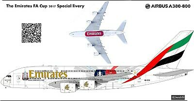 Airbus A380 Emirates FA Cup 2017   Decal 1144 For Revell • 8.58£
