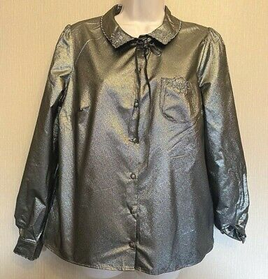 AU35.25 • Buy Marks & Spencer & Alexa Chung Archive New Silver-mix Metallic Long-sleeve Blouse