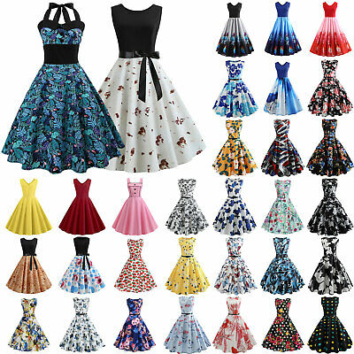 AU20.80 • Buy Womens Vintage Floral Print Sleeveless 50s Hepburn Rockabilly Party Skater Dress
