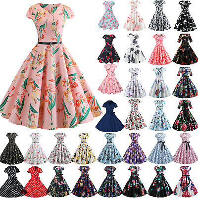 AU20.51 • Buy 50s 60s Vintage Short Sleeve Rockabilly Womens Hepburn Dress Skater Swing Gown