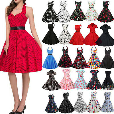 AU20.13 • Buy Womens 50s 60s Summer Vintage Rockabilly Polka Dot Party Skater Swing Dress Gown