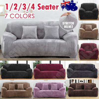 AU37.59 • Buy Velvet Plush Sofa Covers Stretch Couch Cover Furniture Protector 1/2/3/4 Seater
