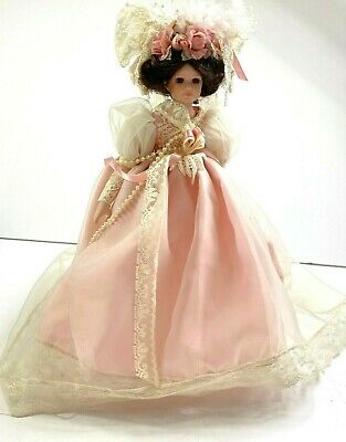 $ CDN32.67 • Buy Victorian Porcelain Doll Beautiful Fancy Gown Dress & Veil Pearls Lace On Stand