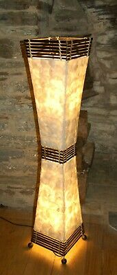 White  Floor Standing Tapered Lamp Handmade  Shell And Bamboo In Bali - 100cm  • 65£