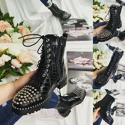 £19.99 • Buy Womens Ladies Ankle Low Heel Chunky Sole Studded Chelsea Ankle Boots Shoes Size