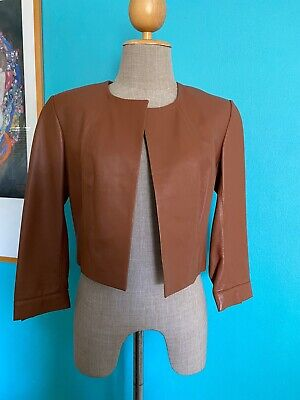 AU75 • Buy WHITE SUEDE Tan Cropped LEATHER Jacket Fit 8  Good Con