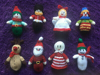 £15 • Buy Handmade Knitted Christmas Tree Decorations - Set Of 8 - New Xmas Reindeer Added