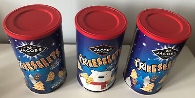 3 Empty Jacob's Cheeselets/Treeselets Biscuit Tin/Barrel/Container For Storage • 2£