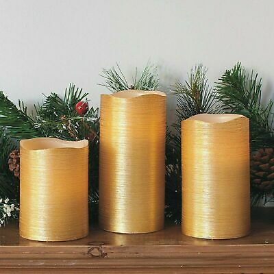 3 X Battery Operated Led Flameless Church Pillar Candles Real Wax Gold Scented • 6.99£