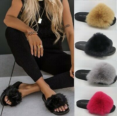 £9.94 • Buy Ladies Womens Faux Fluffy Fur Sliders Warm Fashion Summer Sandals Slippers Shoes